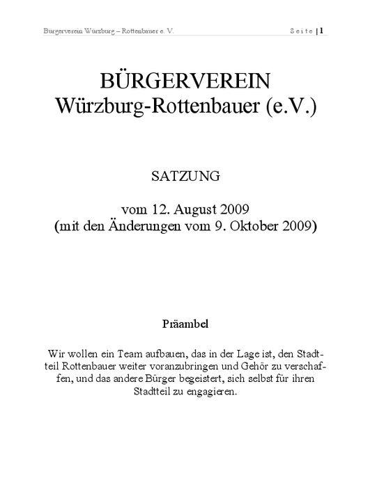 Satzung Bürgerverein Rottenbauer